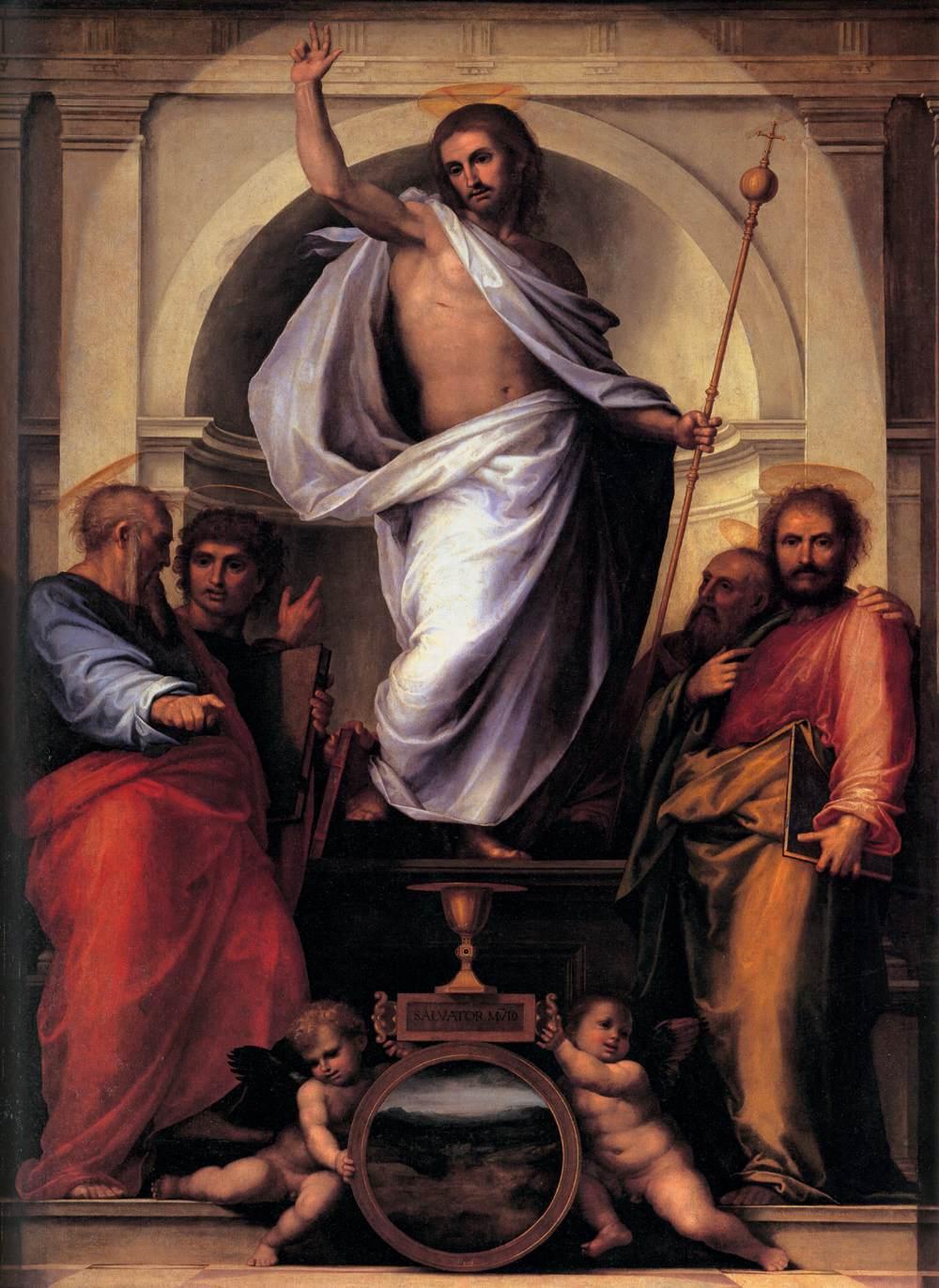 Artworks | Salvator mundi with the four evangelists